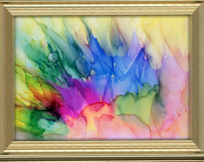 """Original Alcohol Ink Painting ArtByLeClaireDesigns 6.5x8.5 framed rainbow flowers air brush art desk size one-of-a-kind 5x7"""" vibrant happy"""