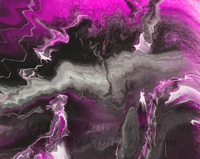Lightning Series - Magenta Downloadable Art Print Hand Painted Abstract Liquid Fluid Flow Art Dirty Pour Multiple File Sizes JPEG Files