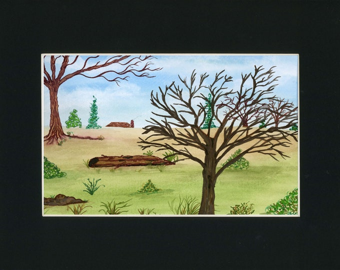 Country Landscape Painting one of a kind art 11x14 black mat original watercolor barren trees green meadow winter cabin ArtByLeClaireDesigns