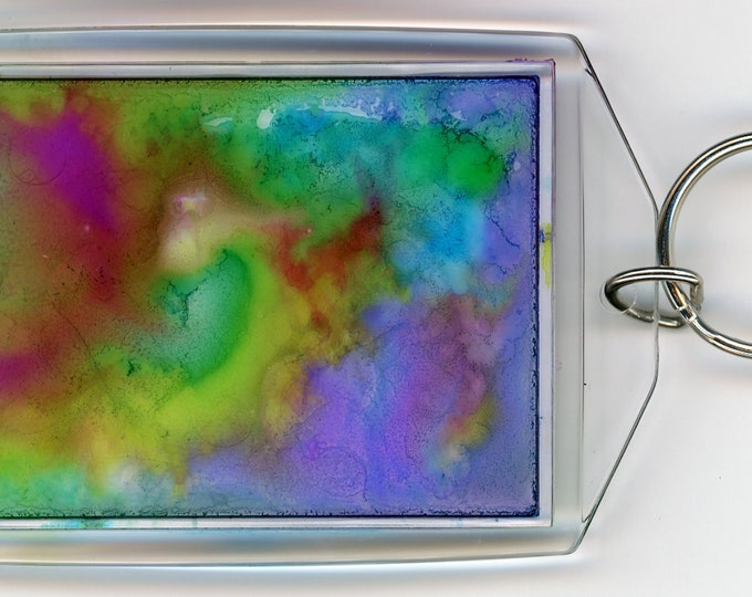 "Hand painted key chain acrylic rectangle both sides unique alcohol Ink paintings 3.5"" x 2.25"" with sturdy ring green purple abstract swirl"