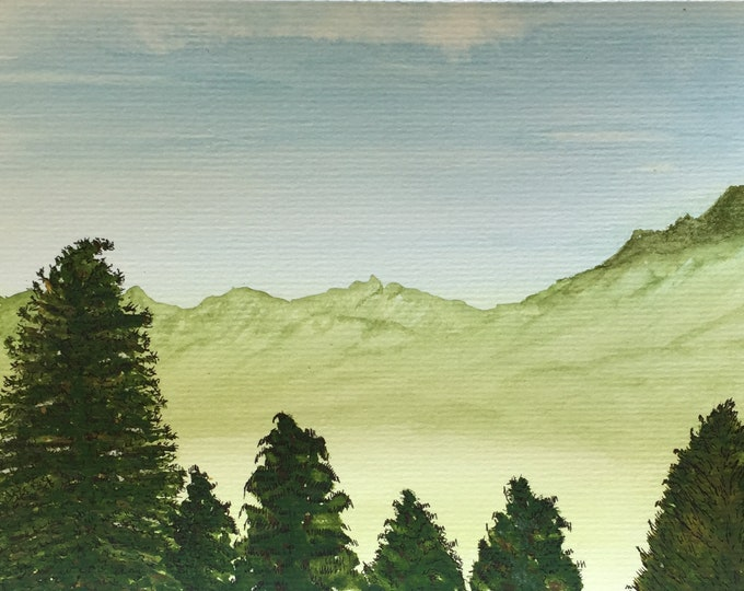 Majestic Trees Watercolor Pine Trees Green Mountains Peaceful New Original LeClaire Hand Painted 8.5x5.5 Not A Print ArtByLeClaireDesigns