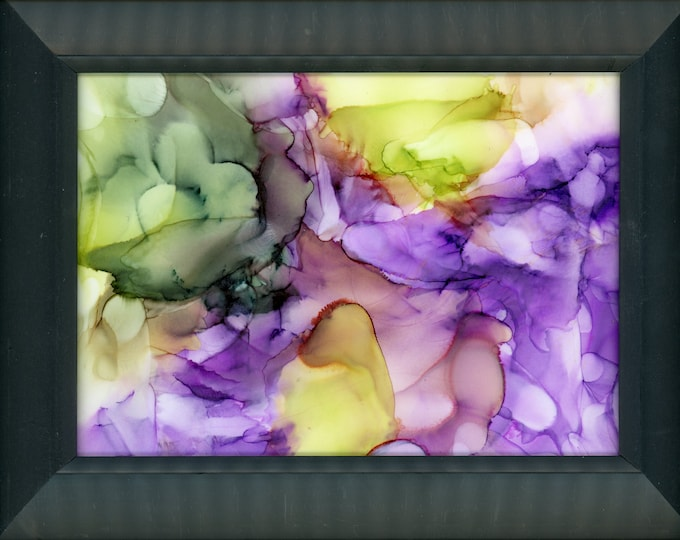 """Original Alcohol Ink Painting ArtByLeClaireDesigns 6.5x8.5 framed abstract air brush art desk size one-of-a-kind 5x7"""" vibrant happy purple"""