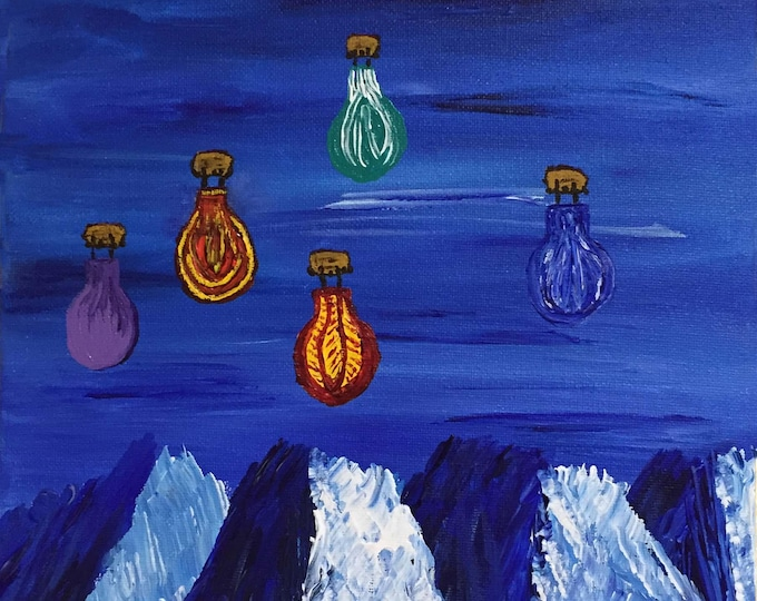 Topsy Turvy Sky Balloons Original Acrylic Painting on Canvas 9 x 12 - Upside down art - trippy art by Absurdist Art - hang it either way