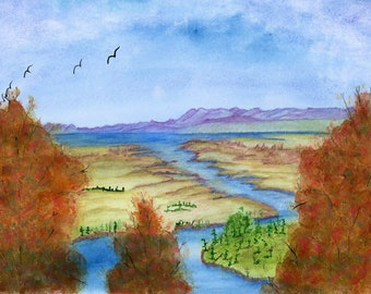 Altered River Valley 2 New Watercolor Landscape Autumn Trees Painting one of a kind art 9x12 original not a print water mountains fall birds
