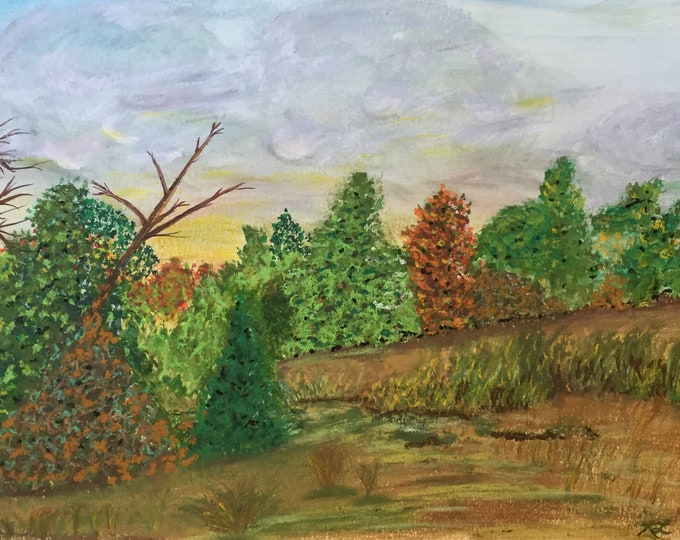 Summers End Pastel New Original Painting 11x15 Forest Landscape Soft Clouds Trees Not a Print Hand Painted ArtByLeClaireDesigns Mixed Media