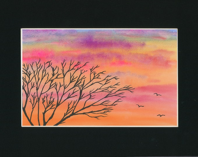 Sunset Silhouette original watercolor one of a kind 11x14 black mat ready to frame landscape orange pink sky serene ArtByLeClaireDesigns