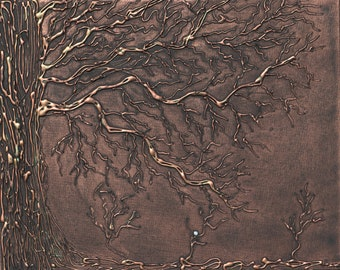 """Tree Hazard - White Golf Ball Glue Tree 3-D Acrylic Painting 16x20"""" Box Frame Bare Branches Golfing Series Hand Painted Copper Brown Bronze"""