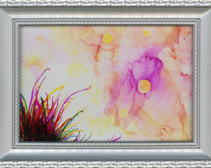 Silver Framed Original Alcohol Ink Painting ArtByLeClaireDesigns 4x6 painting on glass 5x7 frame soft pink flowers air brush art desk size