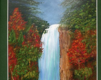 Waterfall original one of a kind pastel embellished print 11x14 green mat ready to frame landscape autumn trees canyon ArtByLeClaireDesigns