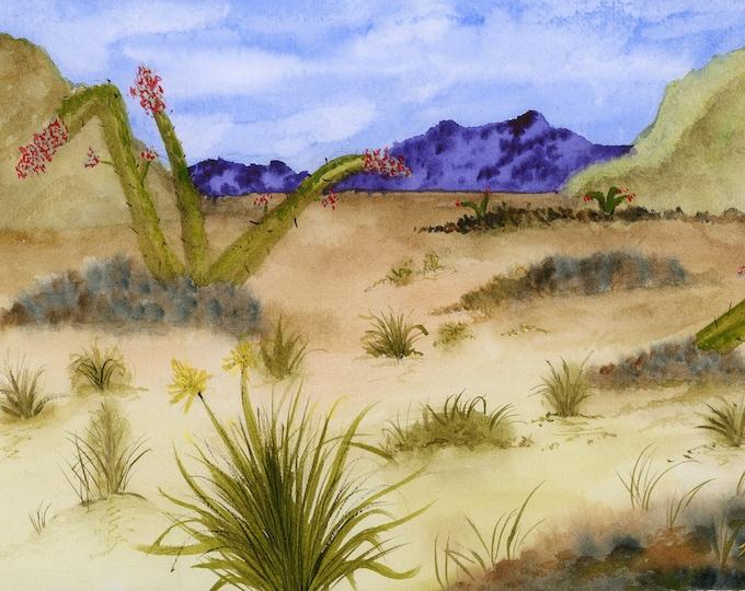 Desert Cactus original watercolor one of a kind 9x12 landscape purple mountain sand hand painted blue sky scrubs green rocks Not a Print