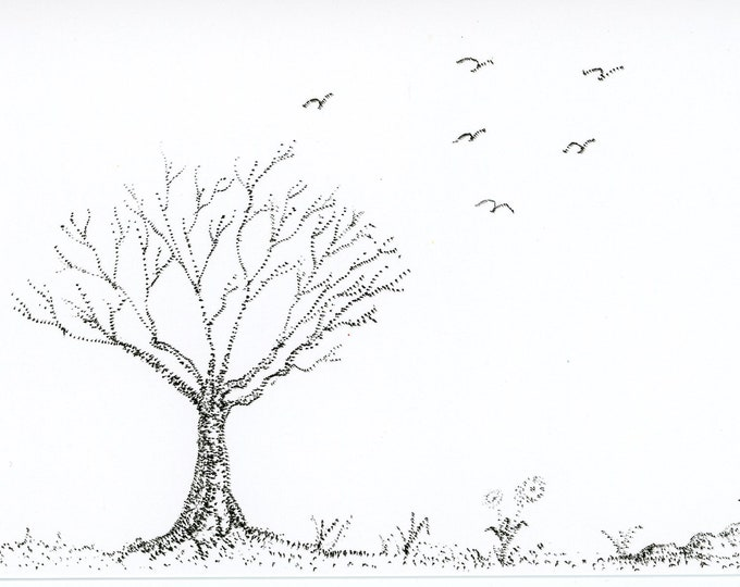 Stipple Tree New Pen and Ink Stippling Postcard 4x6 Artbyleclairedesigns. New Painting Post Card Blank Back Trees and Birds Landscape
