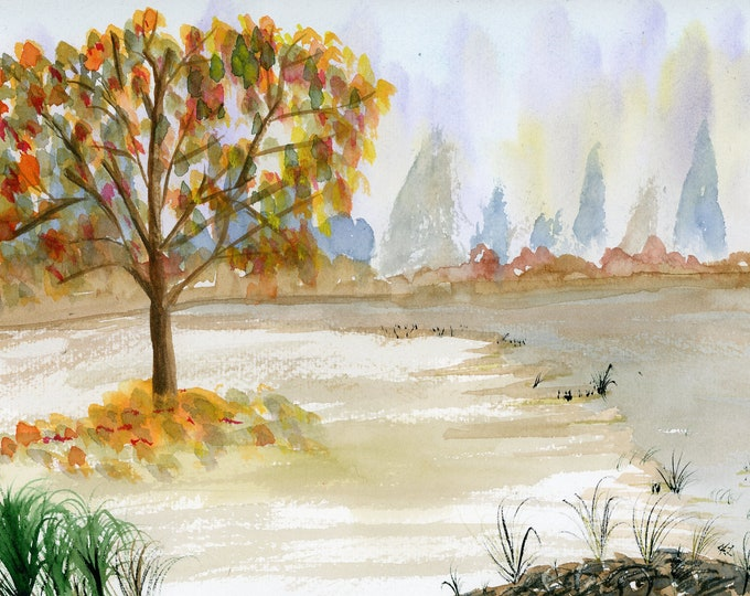 Lazy River signed original watercolor one of a kind 9x12 landscape fall leaves river bank Autumn colors lone tree hand painted Not a Print