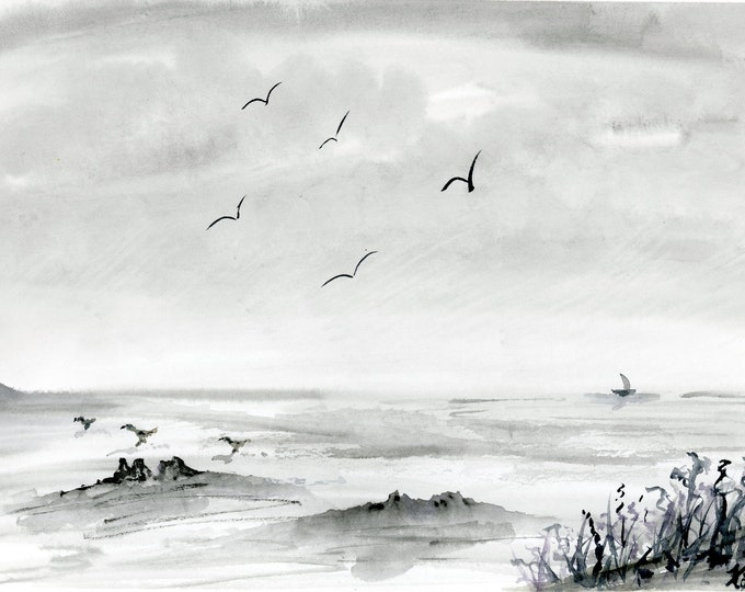 Gray Morning 7.5x10.5 original watercolor one a kind hand painted not a print black and white grayscale beach birds rocks boat waves signed