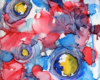 3-D ceramic tile abstract alcohol ink tiny wall art ArtByLeClaireDesigns 4x4 3 dimensional quirky unusual expressionism modern red blue