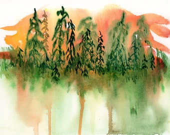 6x9 Original New Abstract Watercolor Orange Green Sunrise Trees Drippy Autumn one of a kind spontaneous landscape hand painted not a print