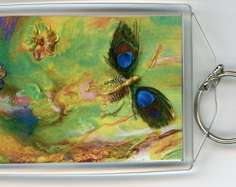 """Butterfly Green key chain acrylic rectangle both sides the same, print from original dirty pour painting 3.5"""" x 2.25"""" with sturdy ring"""