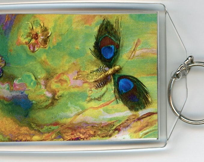 "Butterfly Green key chain acrylic rectangle both sides the same, print from original dirty pour painting 3.5"" x 2.25"" with sturdy ring"