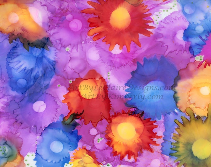 Alcohol Ink Field of Flowers Downloadable Art Print High Resolution Hand Painted Abstract Random Pretty Airbrush Rainbow Multiple JPEG Files
