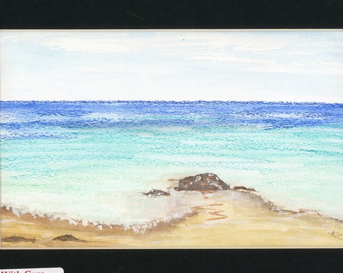 Ocean watercolor and oil pastel painting one of a kind art in 8.5x11 black mat ready to frame gentle waves signed authenticity paperwork