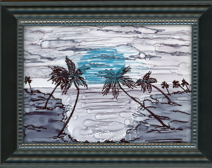 """Original Alcohol Ink Painting on glass Hawaii hand painted palm trees black and white beach moon 6.5x8.5 framed desk size one-of-a-kind 5x7"""""""