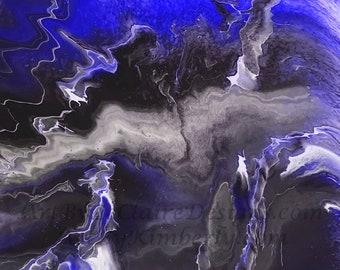 Lightning Series - Purple Blue Downloadable Art Print Hand Painted Abstract Liquid Fluid Flow Art Dirty Pour Multiple File Sizes JPEG Files