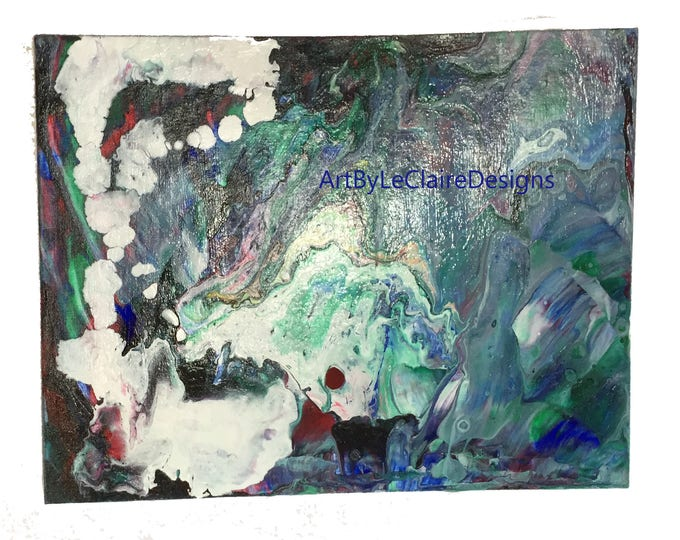 Abstract Original Poured Acrylic Painting - 9 x 12 inches white merged with multiple colors under 5 dollar art liquid dirty pour art