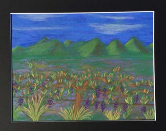 """Wine on the Vine Pastel Painting one of a kind art  8.5 x 11 inches in an 11x14"""" black mat Vineyard Grapes Landscape Neon colors California"""