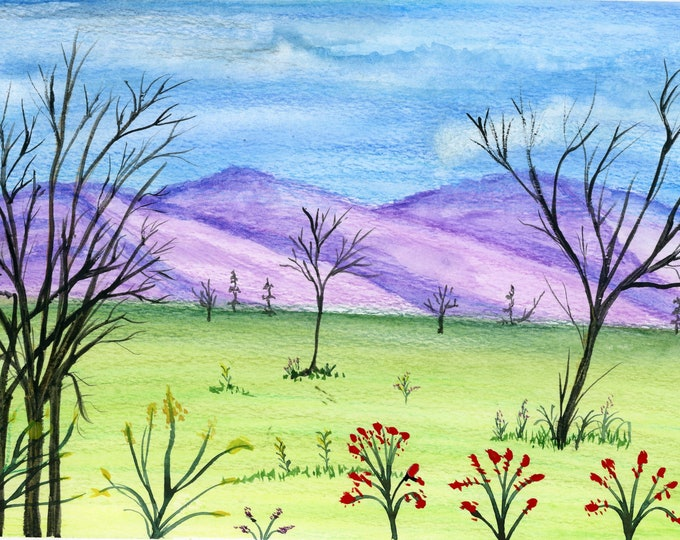 New Watercolor Landscape 6x9 inch original not a print hand painted purple mountain green valley trees hills desk size art peaceful blue sky