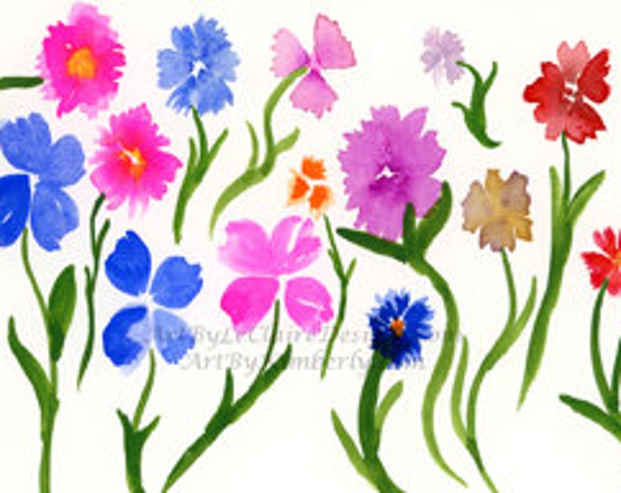 Downloadable Art Print - Spring Flowers - High Resolution - Watercolor Random Wild Flowers Hand Painted Multi Colored Painting 5 file sizes