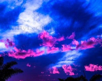 Pink Clouds Photoshop altered clouds in the sky.  Deep blue and glowing pink clouds Artbyleclairedesigns Photography Print Landscape
