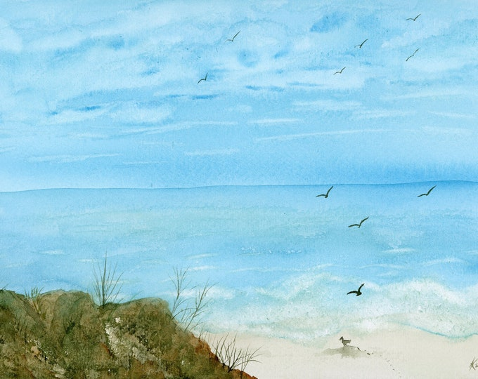 Seagulls at the Beach original watercolor one of a kind 9x12 landscape ocean hand painted bird blue sky fluffy clouds sand surf rocks beach