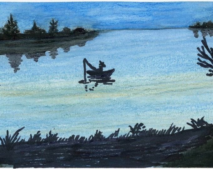 Blue Lake Painting one of a kind art 9x6 inches original new senior artist fisherman lake reflection watercolor and marker on paper black