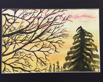 Sunset Between the Trees original watercolor one of a kind 11x14 black mat ready to frame landscape orange sky serene ArtByLeClaireDesigns