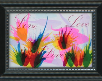 """Framed Original Alcohol Ink Love All Ways 4x6"""" Painting ArtByLeClaireDesigns in 5x7 frame bright pink air brush art desk size romantic art 3"""