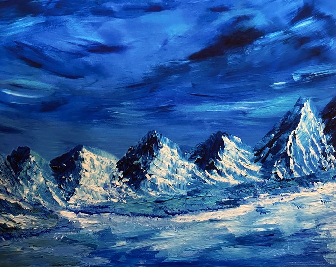 "24x20"" Giclee Blue Glacier from acrylic original painting by ArtByLeClaireDesigns Glacier National Park Alaska.  Icy mountains frozen river"