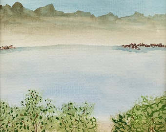 Tree Cove Watercolor New Original LeClaire Landscape  Lake Hand Painted 8.5x5.5 Not A Print ArtByLeClaireDesigns