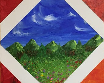 Picture in a Picture Original Acrylic Painting 8 x 8 red, blue, white, Diagonal Frame Art, Landscape Mountains Clouds Artbyleclairedesigns
