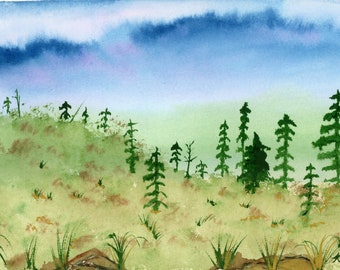 New Watercolor Landscape Tree Line 6x9 inch original not a print hand painted mountain valley rocks hills desk size art peaceful pink sky