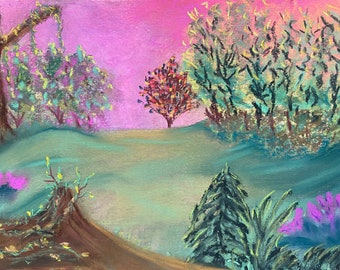 7.5x10.5 Original New Pastel Green Forest Trees Pink Sky Chalk Mixed Media one a kind hand painted not a print signed neon fuchsia Anime