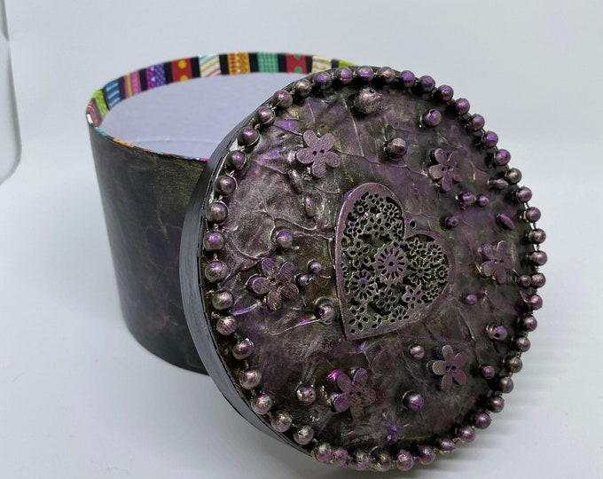 "Mixed Media 3-D Storage Box beaded painted one of a kind pink gold romantic round 4x5"" flowers roses tiny art metallic Recycled - Reuse Art"