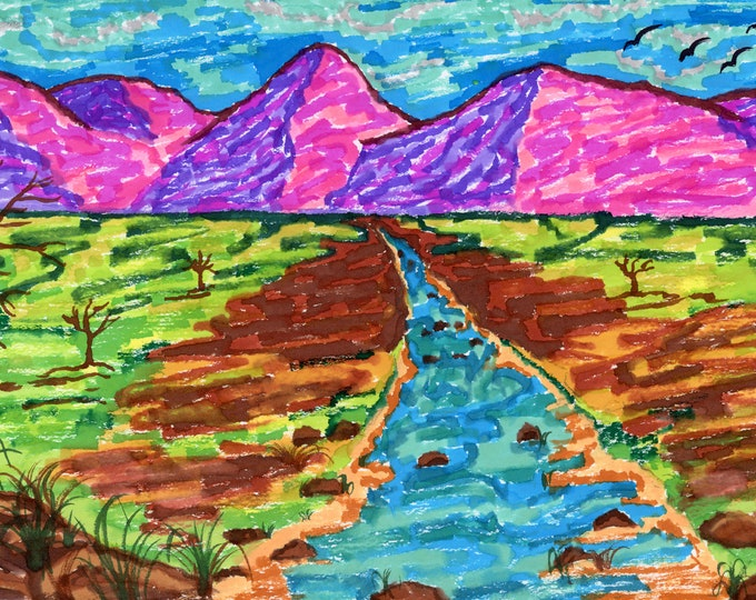 Pink Mountains Mosiac Digital Downloadable Art Print Hand Painted Watercolor Vibrant Abstract Landscape River Multiple High Resolution JPEG