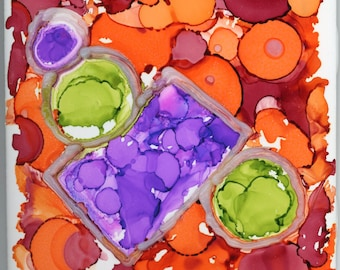 3-D ceramic tile abstract alcohol ink tiny wall art ArtByLeClaireDesigns 4x4 3 dimensional quirky unusual expressionism modern circles