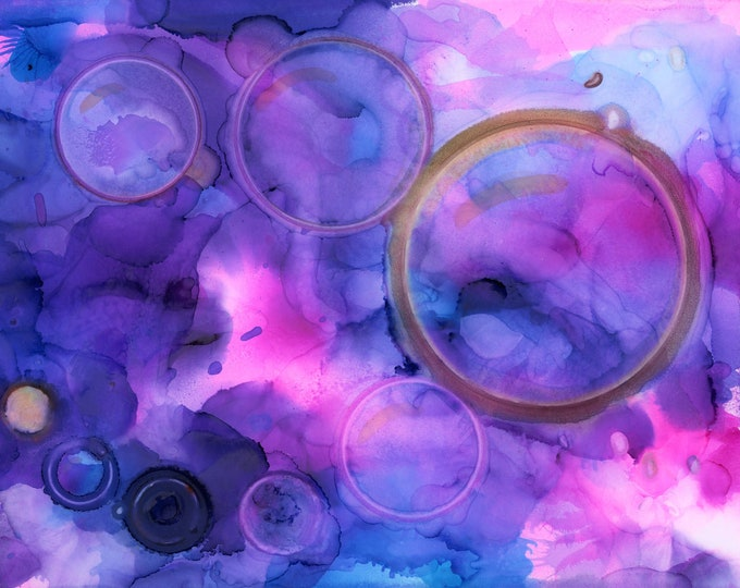 Original Purple Pink Circles Alcohol Ink Painting 8.5x11 one-of-a-kind ArtByLeClaireDesigns unframed abstract bubbles flow art various sizes