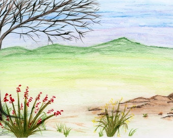 New Watercolor Landscape Red Wildflowers 6x9 inch original not a print hand painted mountain green valley winter tree flowers rocks hills
