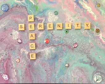 Peace and Serenity original acrylic liquid dirty fluid pour painting abstract turquoise pink scrabble tiles jewel bejeweled surrealism 11x14
