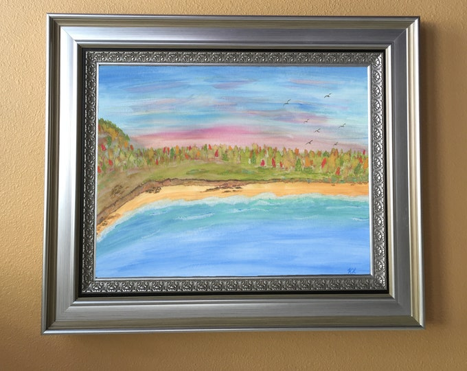 Autumn Coast Watercolor Landscape Seaside Painting - one of a kind art 9x12 inch original not a print cliffs beach waves pink sky birds