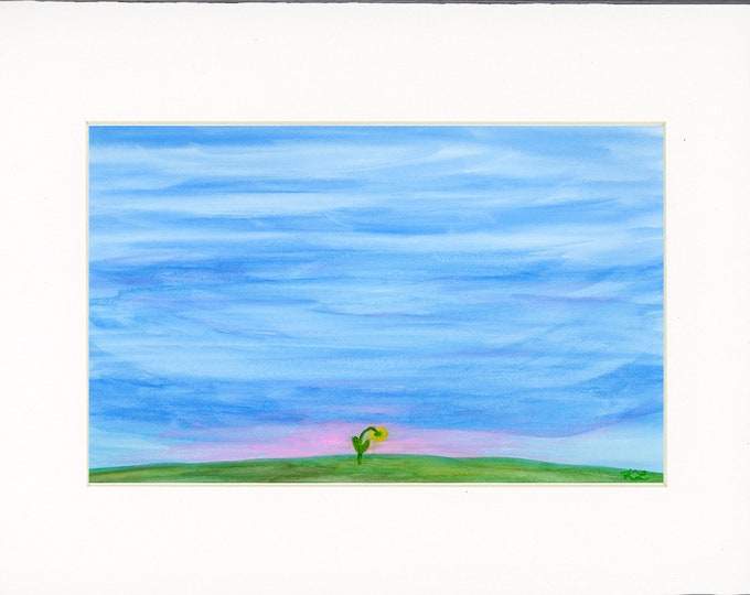 Rise original watercolor one of a kind 11x14 white mat ready to frame landscape big blue sky sunrise single flower hill ArtByLeClaireDesigns