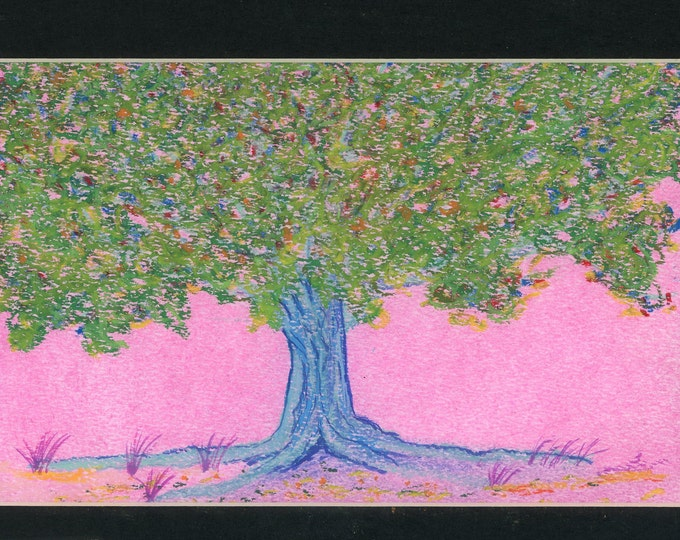 Blue Tree Pink Sky oil pastel painting one of a kind art in 8.5x11 black mat ready to frame authenticity paperwork quirky art surrealism