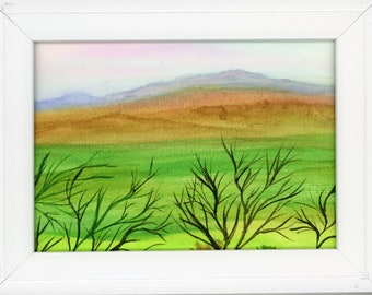 Watercolor New Plein Air Framed Original Hand Painted Landscape Signed Not A Print ArtByLeClaireDesigns Purple Mountain Valley Colorful Sky