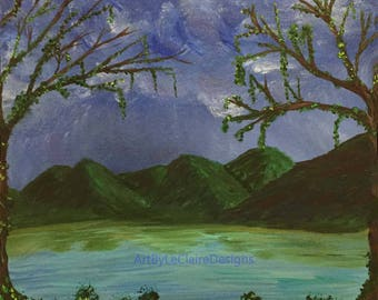 Evening in the Swamp Original Acrylic Painting 12 x 12